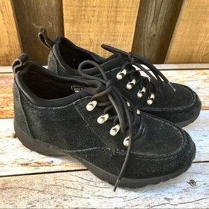 Lands End 6.5 ankle boots shoes suede hiking black